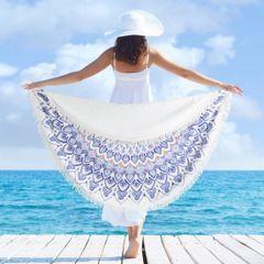 Okrągły ręcznik plażowy z mikrofibry z frędzlami o średnicy 150 cm - średnica 150 cm - biały / niebieski 3