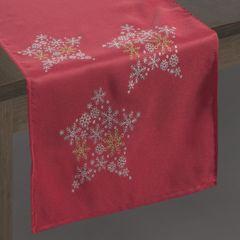 Czerwony BIEŻNIK ŚWIĄTECZNY  z brokatowymi gwiazdkami 40x140 cm - 40 X 140 cm - czerwony, złoty, srebrny 2
