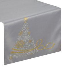 Srebrny bieżnik świąteczny z choinką 40x140 cm - 40 X 140 cm - Srebrny, złoty 1