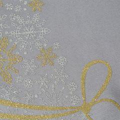 Srebrny bieżnik świąteczny z choinką 40x140 cm - 40 X 140 cm - Srebrny, złoty 3