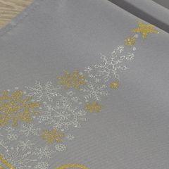 Srebrny bieżnik świąteczny z choinką 40x140 cm - 40 X 140 cm - Srebrny, złoty 4