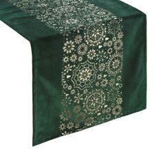 Zielony bieżnik w śnieżynki welwetowy 40x140 cm - 40x140 - Zielony 1