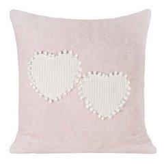 Romantyczna POSZEWKA OZDOBNA w serca z pomponami 45x45 cm - 45x45 - różowy, kremowy 1