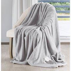 Stalowo szary koc z aplikacją owieczka 150x200 cm - 150 X 200 cm - stalowy 2