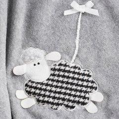 Stalowo szary koc z aplikacją owieczka 150x200 cm - 150 X 200 cm - stalowy 4