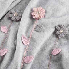 Stalowy szary KOC Z APLIKACJĄ kwiaty 150x200 cm - 150x200 - stalowy, różówy 3