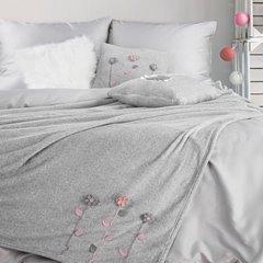 Szara poszewka z kwiatową aplikacją 45x45 cm - 45 X 45 cm - stalowy szary, różowy 2