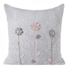 Szara poszewka z kwiatową aplikacją 45x45 cm - 45 X 45 cm - stalowy szary, różowy 1