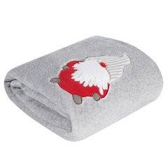 Srebrny koc świąteczny z aplikacją Święty Mikołaj 150x200 cm - 150 X 200 cm - srebrny/czerwony 3