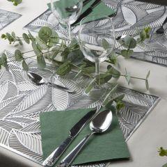 Ażurowa podkładka stołowa srebrne liście palmowe 30x45 cm - 30 X 45 cm - srebrny 4