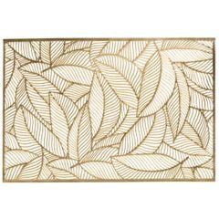 Ażurowa podkładka stołowa złote liście palmowe 30x45 cm - 30 X 45 cm - złoty 1