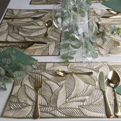 Ażurowa podkładka stołowa złote liście palmowe 30x45 cm - 30 X 45 cm - złoty 3