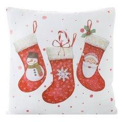 Dekoracyjna POSZEWKA NA PODUSZKĘ ze świątecznym motywem 40x40 cm - 40X40 - biały, czerwony 1