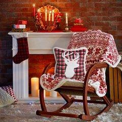 Świąteczna POSZEWKA W KRATĘ z reniferem 45x45 cm - 45X45 - biały, czerwony 2