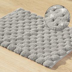 Srebrny dywanik łazienkowy tłoczony ze srebrną nicią 60x90 cm - 60 X 90 cm - popielaty 1
