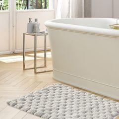 Srebrny dywanik łazienkowy tłoczony ze srebrną nicią 60x90 cm - 60 X 90 cm - popielaty 3