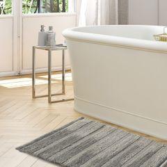 Łazienkowy dywanik w paski splot pętelkowy srebrny 50x70 cm - 50 X 70 cm - popielaty 4
