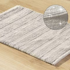 Łazienkowy dywanik w paski splot pętelkowy srebrny 60x90 cm - 60 X 90 cm - popielaty 1
