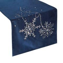 Granatowy bieżnik z kryształami świąteczny 40x140 cm - 40 X 140 cm - Granatowy 1
