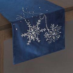 Granatowy bieżnik z kryształami świąteczny 40x140 cm - 40 X 140 cm - Granatowy 2