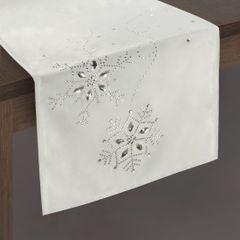 Srebrny bieżnik z kryształami świąteczny 40x140 cm - 40x140 - Srebrny 2