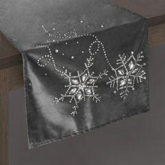 Stalowy szary bieżnik z kryształami świąteczny 40x140 cm - 40 X 140 cm - grafitowy 2