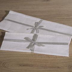 Biały bieżnik z bawełny i lureksu obrus 40x140 cm - 40 X 140 cm - biały/srebrny 3