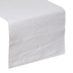 Biały bieżnik na stół strukturalny w paski bawełniany 40x140 - 40 X 140 cm - biały 1