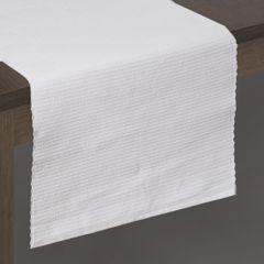 Biały bieżnik na stół strukturalny w paski bawełniany 40x140 - 40 X 140 cm - biały 2
