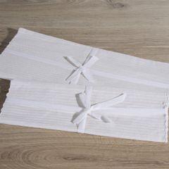 Biały bieżnik na stół strukturalny w paski bawełniany 40x140 - 40 X 140 cm - biały 3