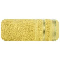 Ręcznik z bawełny z ozdobnym stebnowaniem 70x140cm - 70 X 140 cm - musztardowy 2