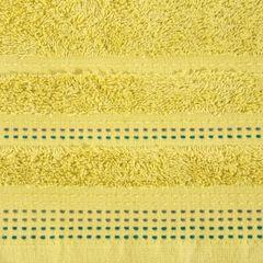 Ręcznik z bawełny z ozdobnym stebnowaniem 70x140cm - 70 X 140 cm - musztardowy 4