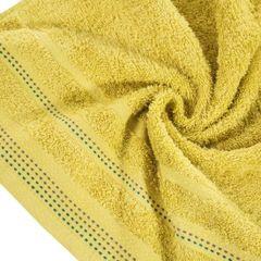 Ręcznik z bawełny z ozdobnym stebnowaniem 70x140cm - 70 X 140 cm - musztardowy 5