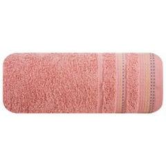 Ręcznik z bawełny z ozdobnym stebnowaniem 50x90cm - 50 X 90 cm - koralowy 2