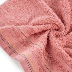 Ręcznik z bawełny z ozdobnym stebnowaniem 50x90cm - 50 X 90 cm - koralowy 5