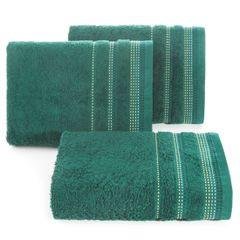 Ręcznik z bawełny z ozdobnym stebnowaniem 50x90cm - 50 X 90 cm - butelkowy zielony 1