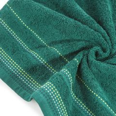 Ręcznik z bawełny z ozdobnym stebnowaniem 50x90cm - 50 X 90 cm - butelkowy zielony 9