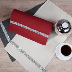 Czerwony bieżnik na stół do jadalni cekiny 33x180 cm - 33 X 180 cm - czerwony 5