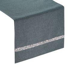Grafitowy bieżnik na stół do jadalni cekiny 33x180 cm - 33 X 180 cm - grafitowy 1