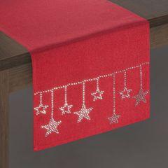 Czerwony świąteczny bieżnik z cyrkoniami 33x140 cm - 33 X 140 cm - czerwony 2