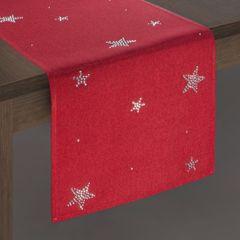 Czerwony świąteczny bieżnik w gwiazdki 33x140 cm - 33 X 140 cm - czerwony 2