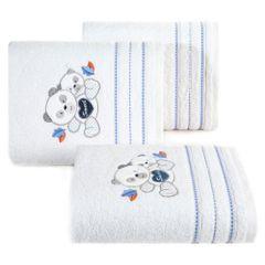 Ręcznik dziecięcy kąpielowy misie biały niebieski 50x90 - 50 X 90 cm - biały 1