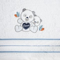 Ręcznik dziecięcy kąpielowy misie biały niebieski 50x90 - 50 X 90 cm - biały 9
