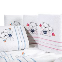Ręcznik dziecięcy kąpielowy misie biały niebieski 50x90 - 50 X 90 cm - biały 3