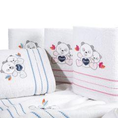 Ręcznik dziecięcy kąpielowy misie biały niebieski 50x90 - 50 X 90 cm - biały 7