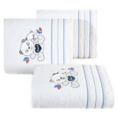 Ręcznik DZIECIĘCY kąpielowy MISIE biały niebieski 70x140 - 70x140 - biały / niebieski 2