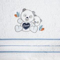 Ręcznik dziecięcy kąpielowy misie biały niebieski 70x140 - 70x140 - biały / niebieski 4