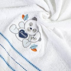 Ręcznik dziecięcy kąpielowy misie biały niebieski 70x140 - 70x140 - biały / niebieski 5
