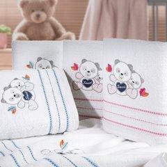 Ręcznik dziecięcy kąpielowy misie biały niebieski 70x140 - 70x140 - biały / niebieski 6