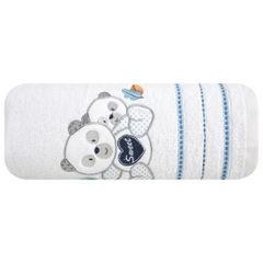 Ręcznik dziecięcy kąpielowy misie biały niebieski 70x140 - 70 X 140 cm - biały 2
